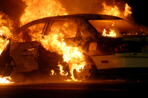 car ablaze